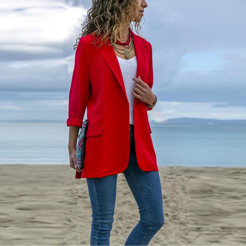Work Office Lady Suit Slim Black None Button Business Blazer Coat New Elegant Autumn Women Blazers Women Suit Jacket