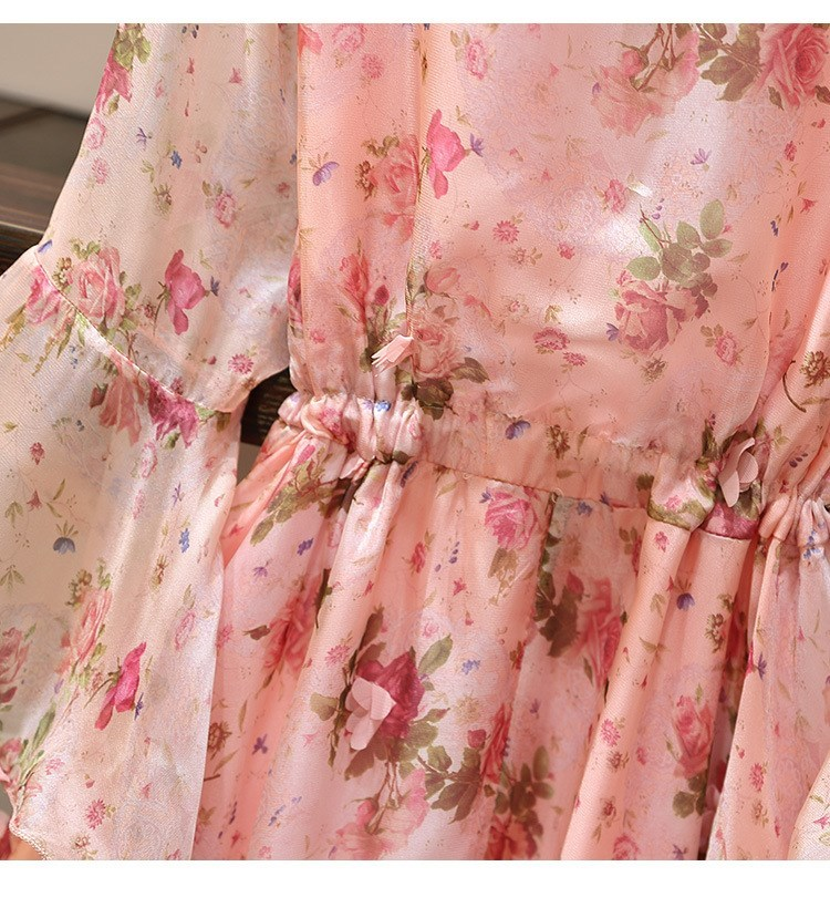 Women V-Neck Floral Appliques Chiffon Dress 2019 Summer Flare Sleeve Belt Flower Print Dress Empire Plus Size Mini Dresses 58