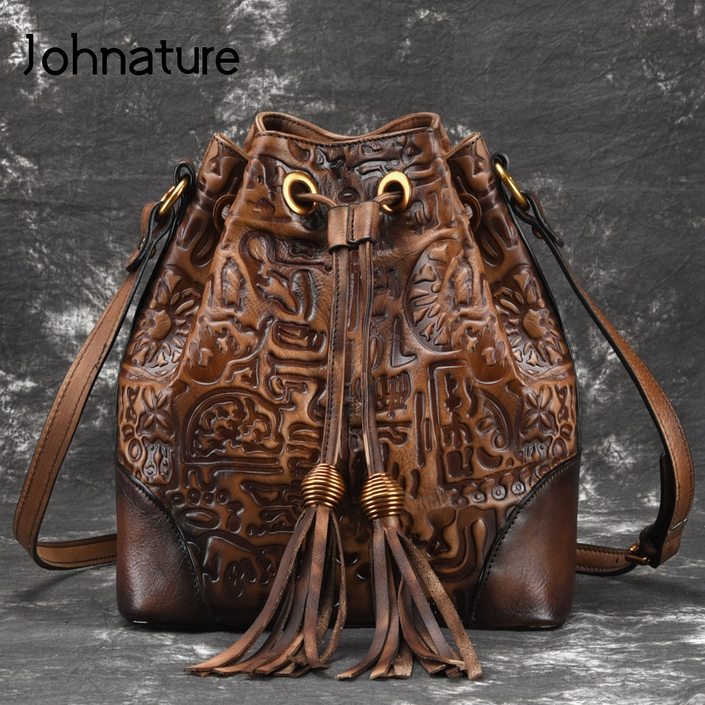 Johnature 2020 New Genuine Leather Vintage Embossed Versatile Women's Bags Cow Leather Soft Open Pocket Shoulder&Crossbody Bags