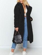 OEAK Women Faux Fur Coat Teddy Jacket female Plush Notch Lapels Oversized Winter Long Big Size