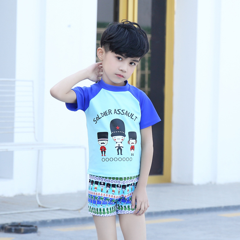 South Korea Children Split Type Swimsuit BOY'S Suit With Swim Cap Children Male Baby Boys' Swimming Trunks Swimming Suit