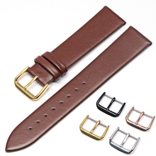 цена на Genuine Leather Watchbands 18mm 20mm 22mm 24mm Black  Brown Women Men Cowhide Watch Band Strap Belt With Buckle