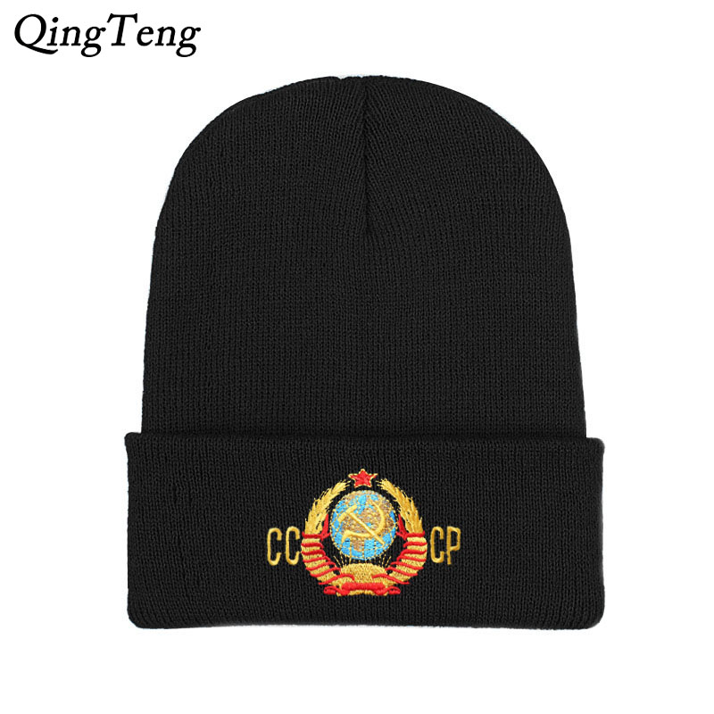 Embroidery CCCP USSR Men's Knitted Skullies Winter Knitting Beanies Hat For Men Double Layer Warm Bonnet Caps Boy Skis Bone