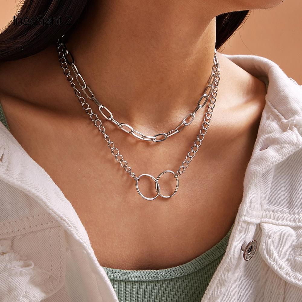 IngeSight.Z 2Pcs/Set Punk Multi Layer Double Round Circle Lasso Choker Necklace Curb Cuban Pendant Necklaces for Women Jewelry