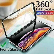 Magnético metal duplo lado caso de vidro para iphone 12 11 pro max se 2020 x xr xs max 7 8 plus frente e traseira capa coque