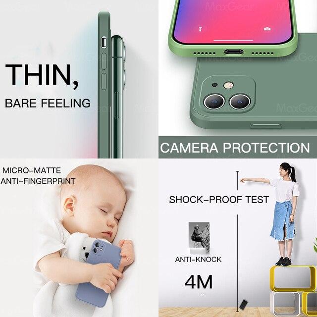 Luxury Original Square Liquid Silicone Case For iPhone 12 11 Pro Max Mini X XR XS Max 7 8 6s Plus SE 2020 Shockproof Soft Cover 3