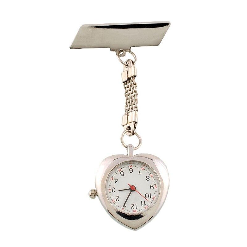 Watch Stainless Steel Watch Band Clip Pocket Heart Nurse Watch Delicate Quartz Nurse Watch Pocket Silver