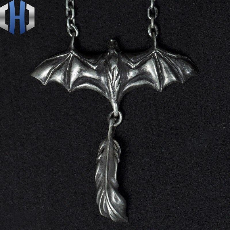 Original Design Handmade Silver 925 Night Spirit Feather Pendant Bat Necklace Punk