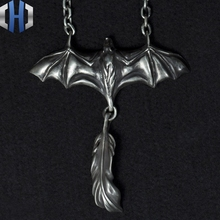 Original Design Handmade Silver 925 Silver Night Spirit Feather Pendant Bat Necklace Pendant Punk Pendant cute beads feather pendant design necklace for women