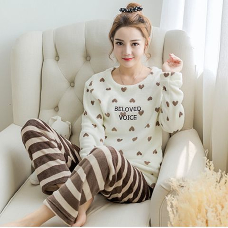 2020 Womens Pajamas Set Winter Thick Warm Flannel Pajama Sets Cartoon Pyjamas Women Homewear Animal Sleepwear Female Pajama