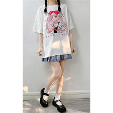 2021 summer short sleeve college wind and Sun Department cartoon girl print loose and versatile T-Shirt Top Student trend