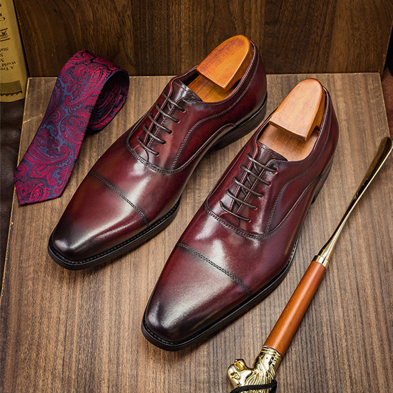 Phenkang Mens Formal Shoes Genuine Leather Oxford Shoes For Men Italian 2020 Dress Shoes Wedding Laces Leather Business Shoes