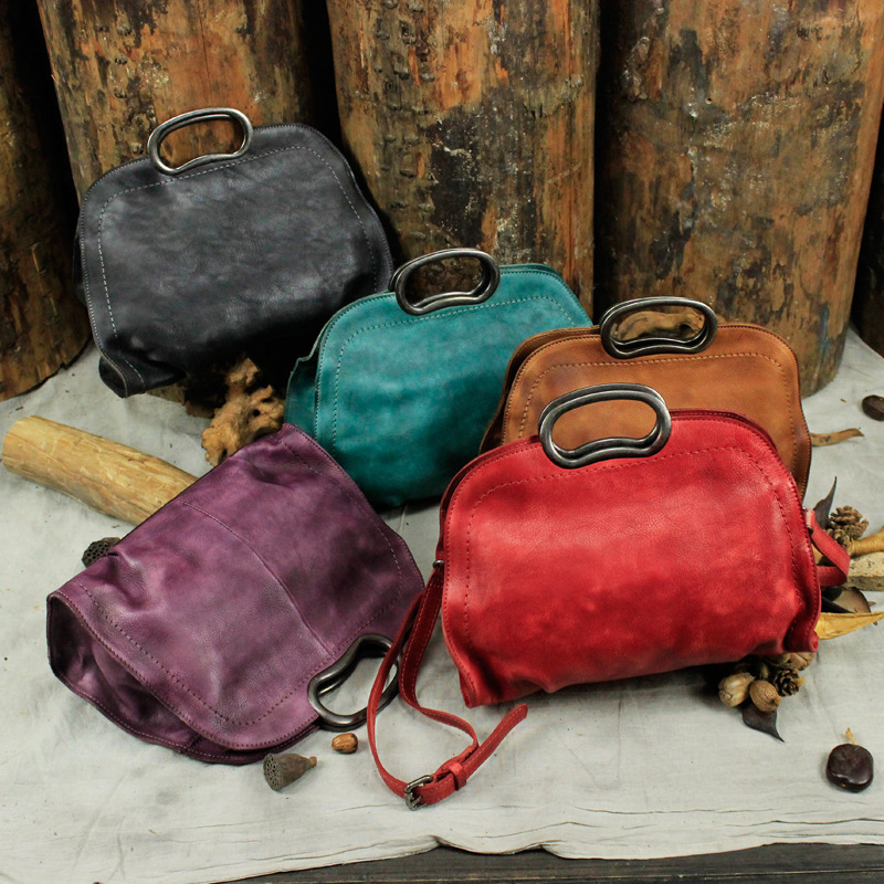 Vintage Handmade Suede Leather Casual Shoulder Bag Diagonal Cross Dumpling Handbag