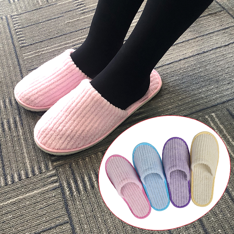 Coral Velvet Disposable Slippers Plush Winter Warm Flat Fleeces Hotel Supplies Indoor Pink Yellow Non-slip Home Guest Slippers