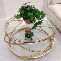 Iron coffee table fashion small apartment living room coffee table tempered glass round sofa side coffee table WF924430