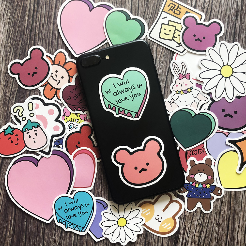 31Pcs Pink Girl Heart Bear Stickers Junk Journal Planner Scrapbooking Decorative Children Sticker DIY Craft Photo Albums