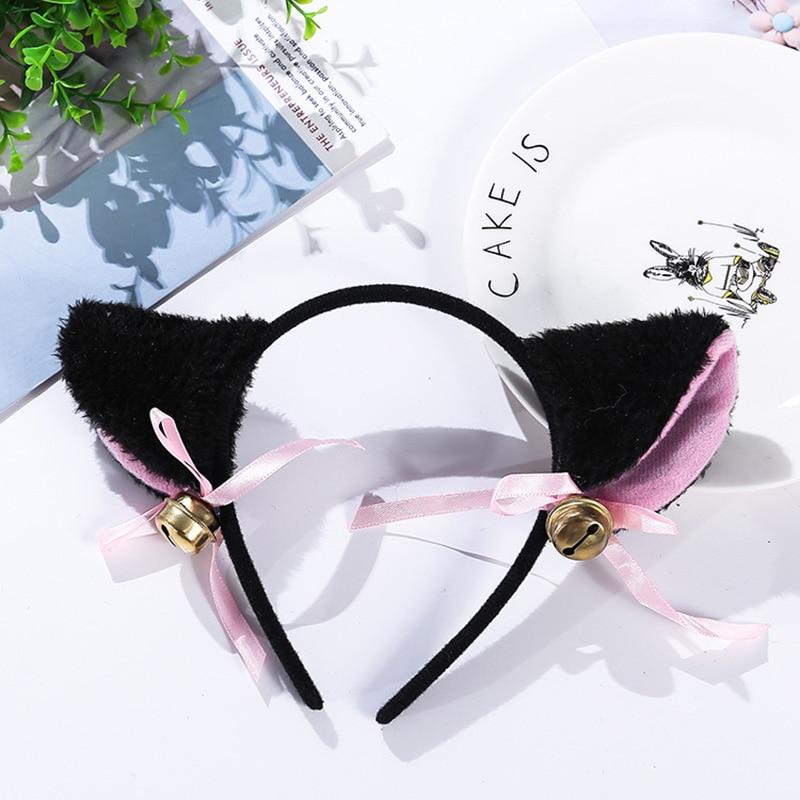 3 cores bonito masquerade dia das bruxas orelhas de gato cosplay orelha de gato anime festa traje gravata borboleta sino headwear anime