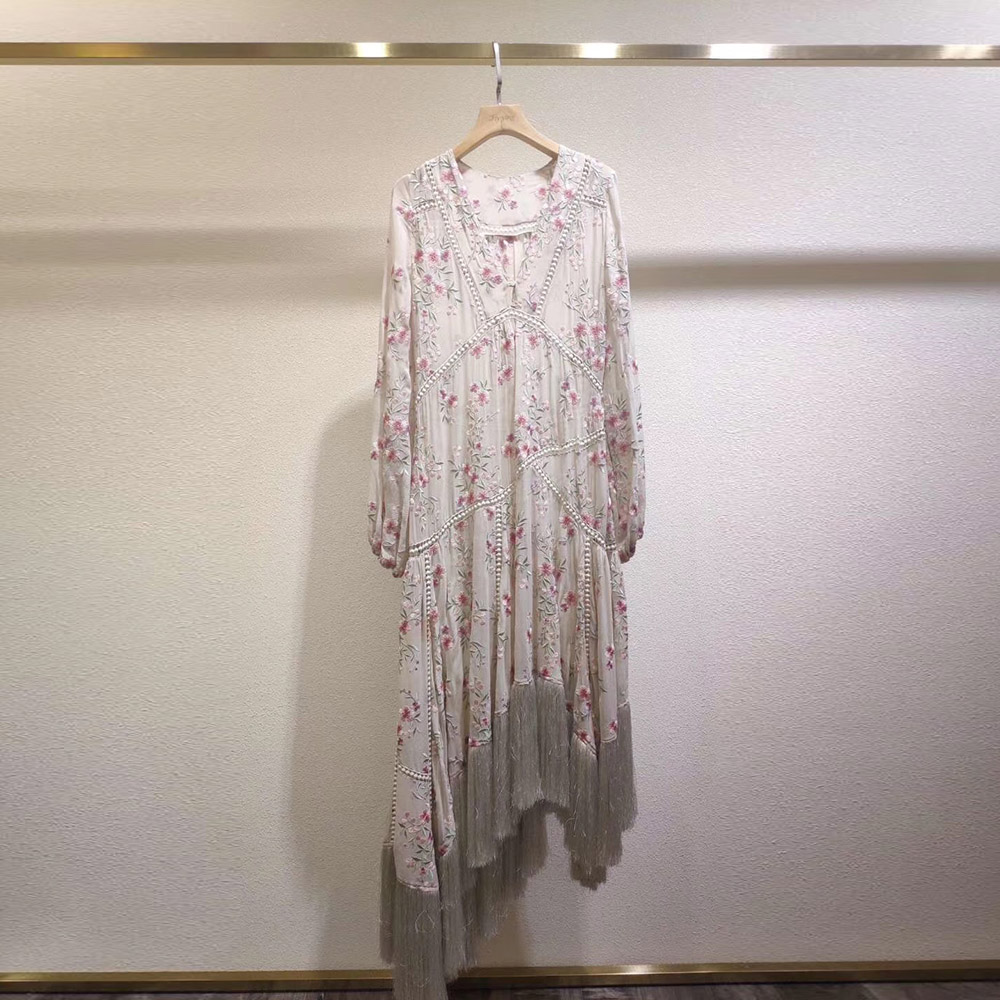 Luxury Top Quality Real Silk Floral Dress 2020 Spring New Peach Blossom Embroidery Tassels Long Sleeve Elegant Loose Dresses