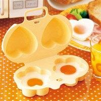 Photo principale cuiseur oeuf tupperware avec deux œufs cuits en forme de marguerite.