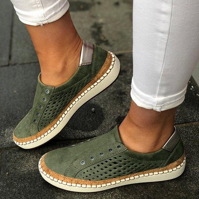Экспресс-; женская обувь; повседневная обувь из вулканизированной кожи; кроссовки; женские удобные слипоны; лоферы на плоской подошве; zapatos mujer; Прямая поставка - Цвет: green 3