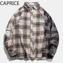 Hip Hop bordado a cuadros Patchwork hombres camisas 2019 moda Harajuku Streetwear Casual algodón Oversize Hombre manga larga Outwear