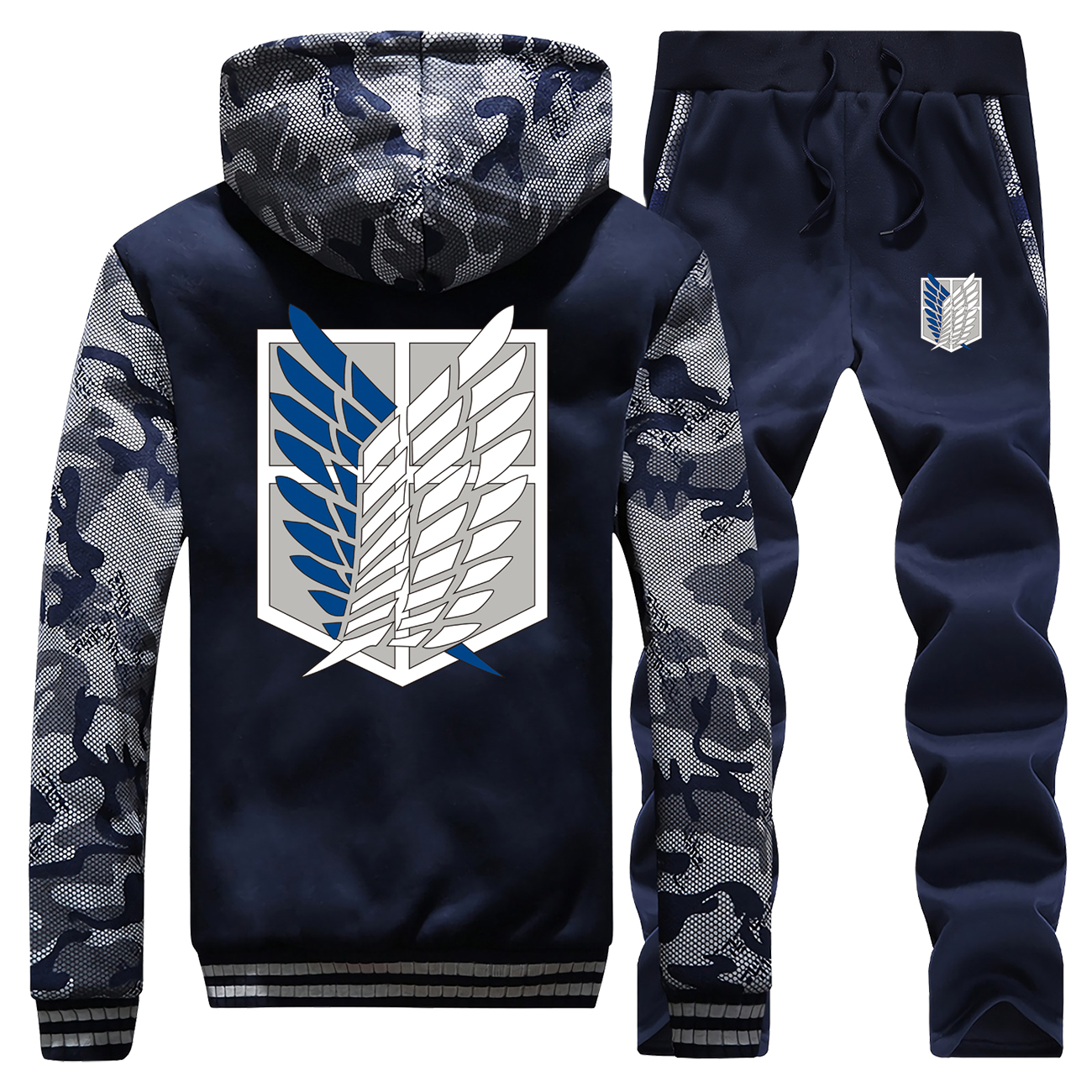 Attack On Titan Thick Hoodie Anime Wings Of Freedom Sweatshirt Men Winter Jacket Warm Suit Tracksuit Hoodie+Pants 2 Piece Sets