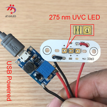 275nm UVC LED module for DIY UVC Disinfection lamps With USB power supply board Deep UVC LED violet light sterilization 285nm цена и фото
