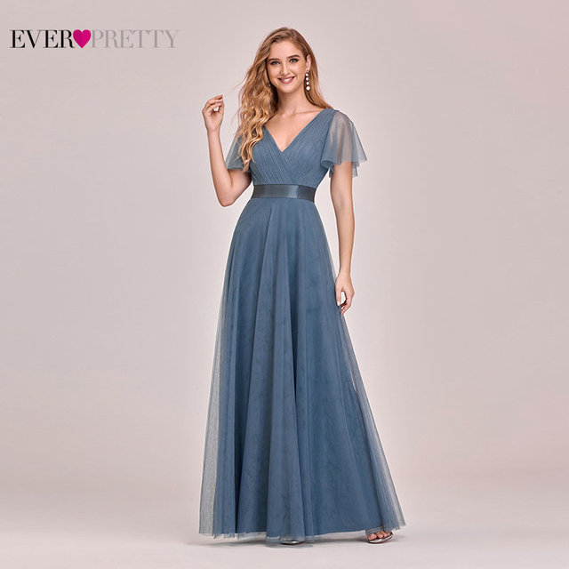 Plus Size Blue Prom Dress 2020 Ever Pretty EP07962 Elegant V Neck Tulle Women Sexy Long Prom Dresses Formal Summer Party Gowns