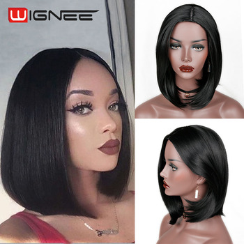Wignee Natural Black Bob Synthetic Hair Temperature  Women Wigs Glueless Cosplay For Africa Americans - discount item  36% OFF Synthetic Hair