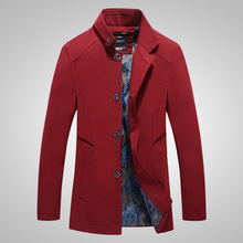 Windbreaker autumn new mens cotton washed jacket solid color windbreaker lapel single-breasted casual
