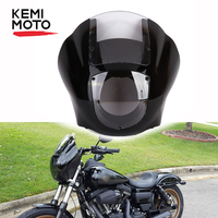 Vivid Black Clear windshield Racer Style Drag Racing Viper Fairing Screen Headlight Wind Deflector Windshield For Sportster Dyna