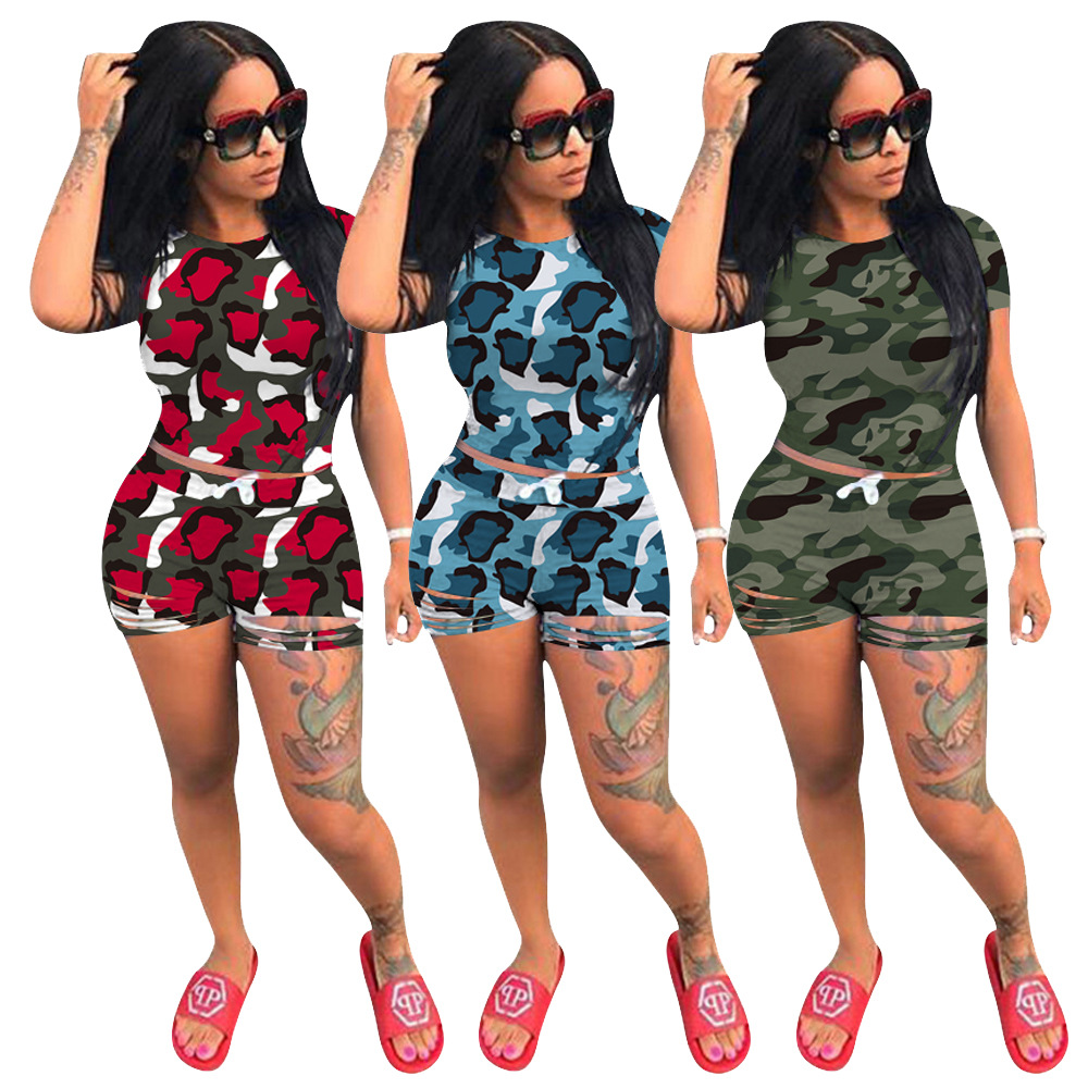 Echoine Camouflage Print Crop Top And Shorts Summer Women Tracksuit Camo Hollow Out  Shorts Set Sexy Outfits Two Piece  Set