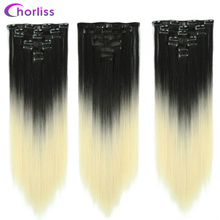 Long Straight Synthetic Hair Extensions Clips in Hairpieces Heat Resistant Chorliss Ombre Black Blonde Fake False Hair Pieces