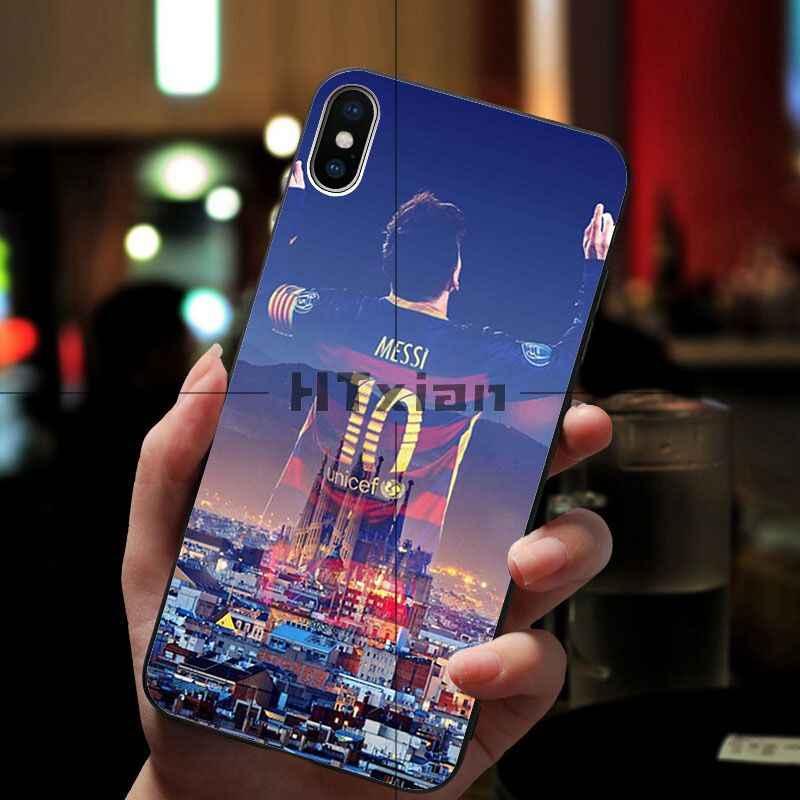 Htxian Messi Sepak Bola Photo Lembut Fundas Phone Case untuk iPhone 11 Pro XS MAX 8 7 6 6S plus X 5 5S SE XR Case