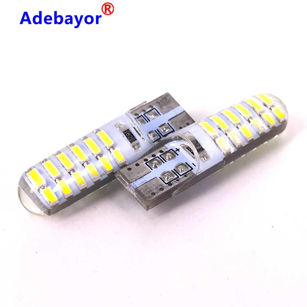 1 Uds T10 W5W 192, 168, 501, 24 SMD funda de silicona 24 SMD 3014 LED luz de lectura de coche 24 cuña Auto LED Bombilla luces de estacionamiento 12V 12V