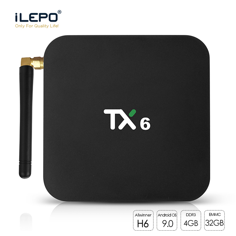 ILEPO Android 9.0 Smart TV BOX TX6 Allwinner H6 Quad Core RAM 4GB ROM 32GB 2.4 & 5G double WiFi LAN BT5.0 USB3.0 HDR 4K boîtier multimédia
