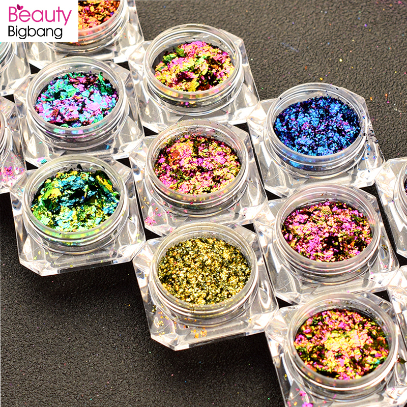 BeautyBigBang 0.1g Chameleon Effect Flake Nails Accessories Sequins Mirror Powder Chrome Pigment Paillette Glitter for Nails Art-in Nail Glitter from Beauty & Health