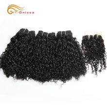 Pissy/Pixie Curl Weft With Closure 12/14/16/18 Inch Pissy Curls Bundles 6Pcs With Closure Double Drawn Brazilian Human Remy Hair(China)