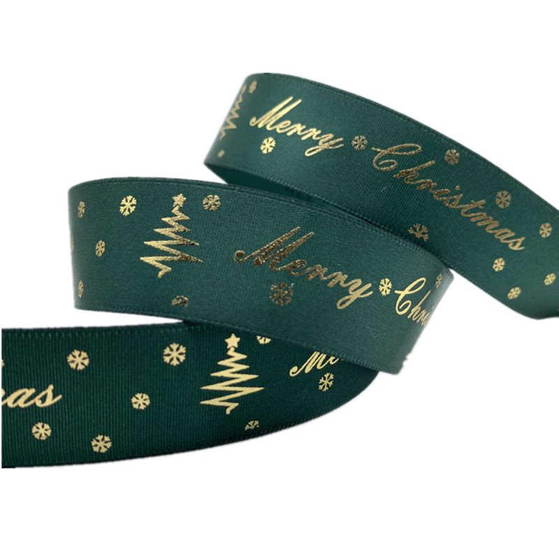 5Yards/Lot 25mm Polyester şerit bronzlaşan şerit baskılı noel şerit noel dekorasyon DIY dikiş kumaş