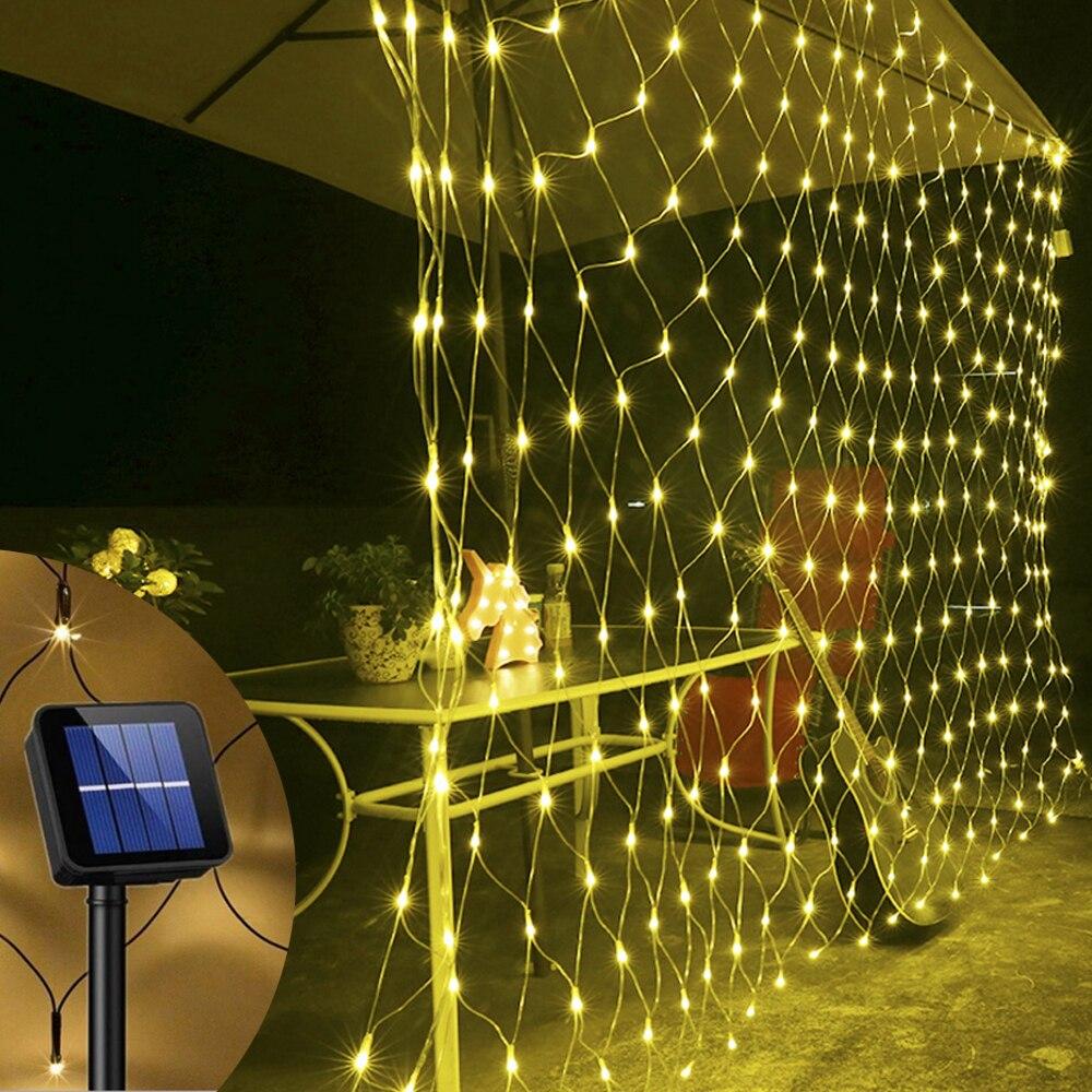 3x2m 6x4m Solar Mesh Net Light Led Fairy String Window Curtain Lights 8 Modes Home Lighting Garden Patio Yard Balcony Decoration