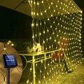 Светодиодная гирлянсветильник-сетка на солнечной батарее, 6x4 м, 8 режимов, декоративное светильник щение для дома, сада, патио, балкона, 3x2 м