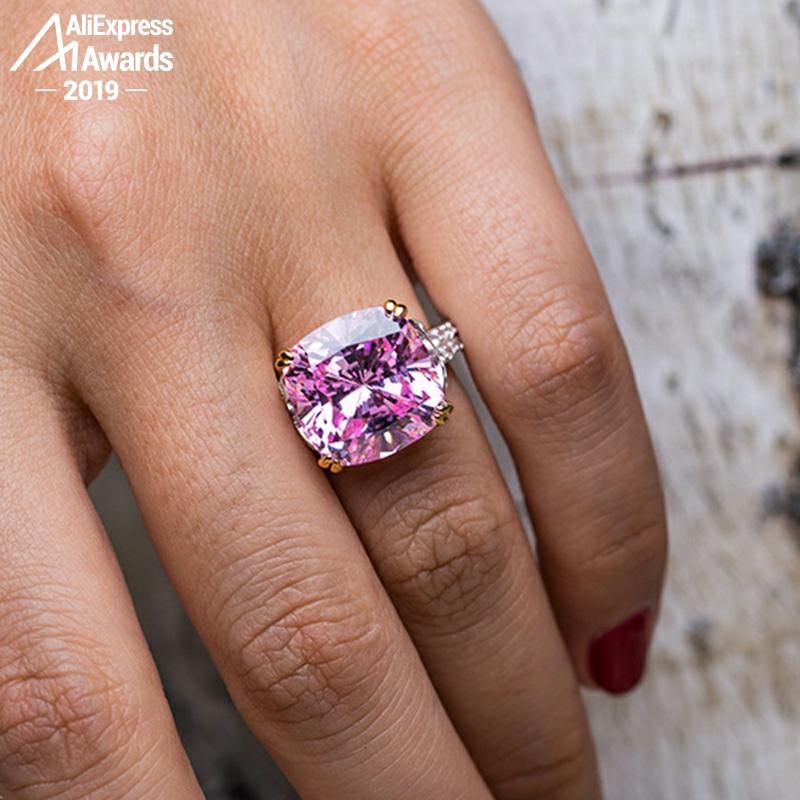 14*14mm bague en diamant taille coussin pas faux S925 argent sterling mariage fin citrine saphir améthyste rubis couleur diamant
