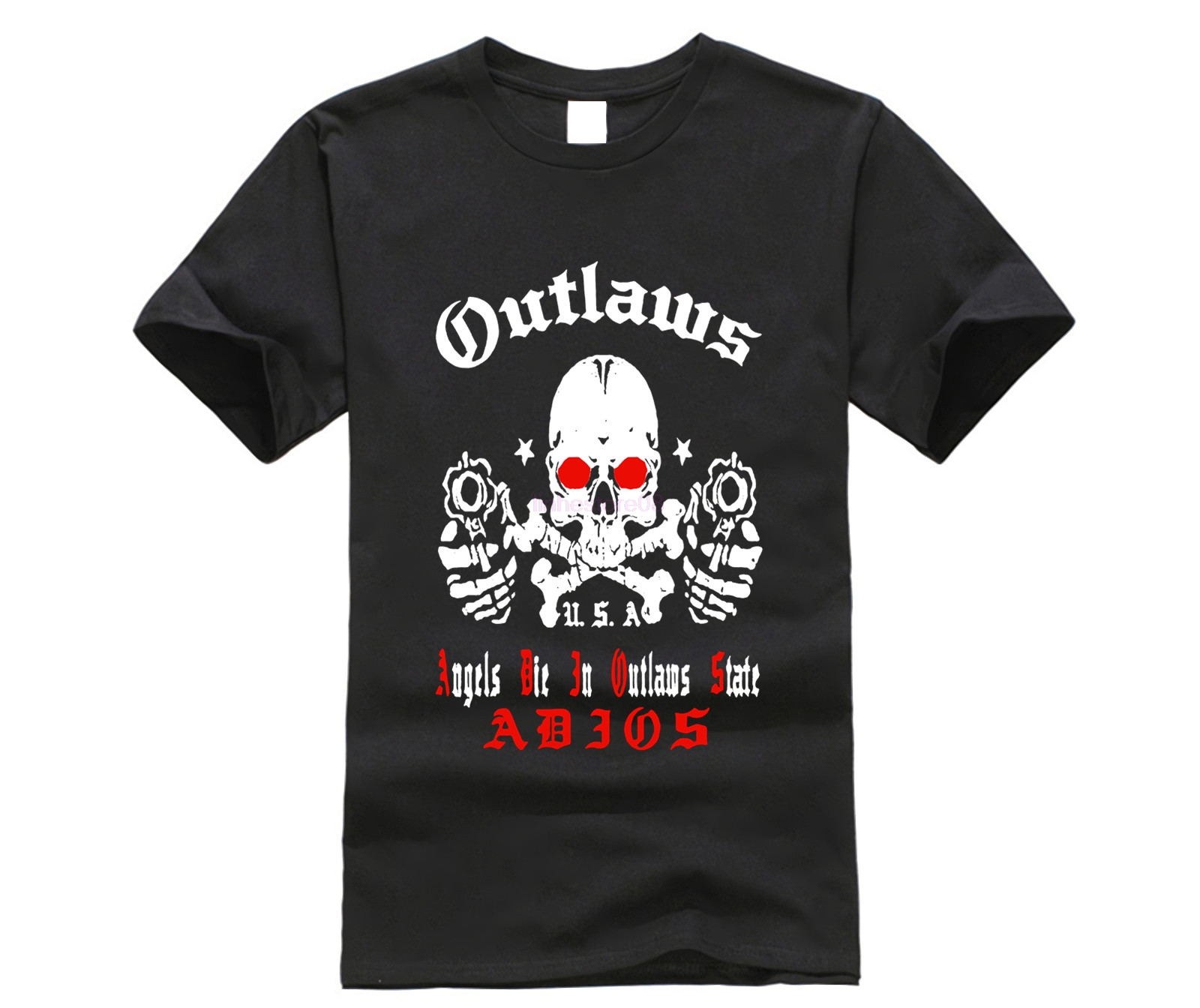 Adios Outlaws <font><b>MC</b></font> <font><b>T</b></font> <font><b>Shirt</b></font> Black Angels Die in Outlaws State Tee Size S-3XL Men and Women Print Casual Piece Cotton Short Tops image