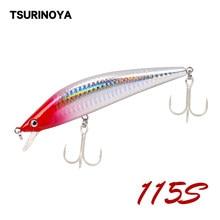 TSURINOYA – leurre méné rigide coulant, Swimbait, wobbler, appât artificiel idéal pour la pêche en eau salée, bar, brochet, 115mm, 25g, DW56