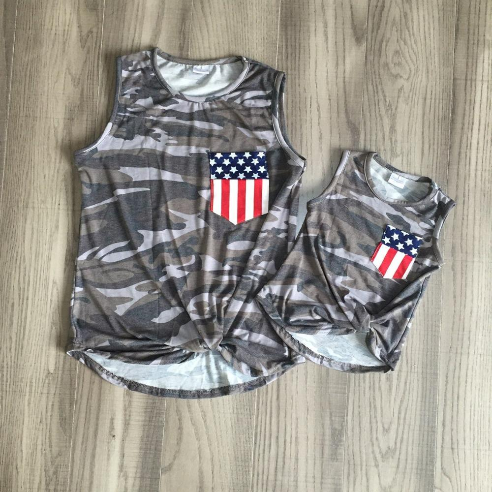 Mom Daughter July 4th Vest Girls Camouflage Print Shirts Mum And Daughter Us Flag Clothes