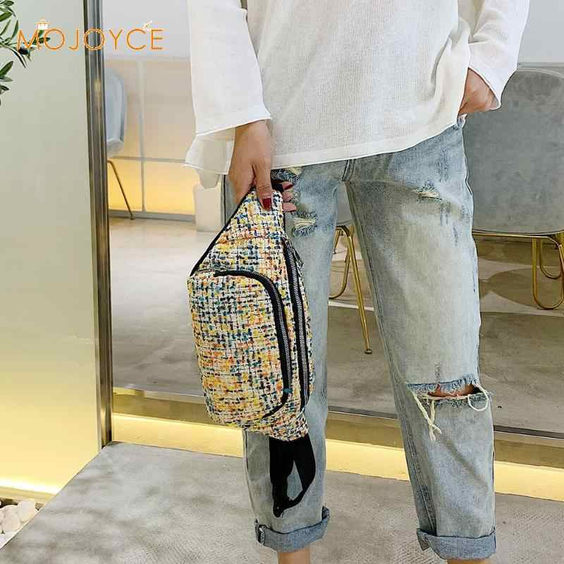 ファッションカラー繊維ニットウエストバッグ女性 Pu レザーベルトバッグジッパーファニー胸電話パック女性スモールクロスボディバッグ