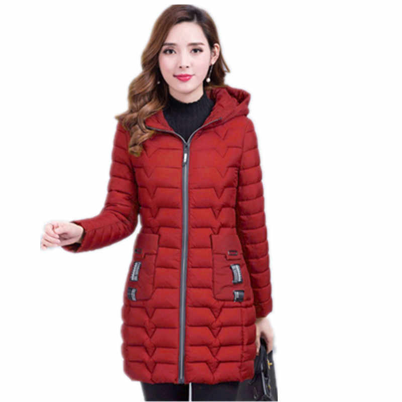 2019 kadın kışlık kapşonlu sıcak tutan kaban büyük boy Kalınlaşmak pamuk kapitone ceket kadın uzun parka kadın moda baskı feminina G1111