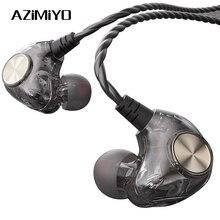 AZiMiYO HK1 Wired אוזניות 3.5mm היברידי HiFi DJ אוזניות סטריאו מוסיקה עמוק בס רעש ביטול אוזניות