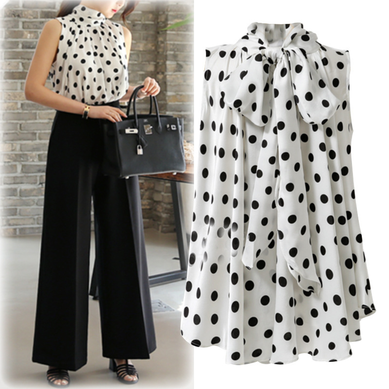 AliExpress 2019 summer new European and American large size was thin wave point sleeveless women 39 s comfortable shirt trend in Blouses amp Shirts from Women 39 s Clothing