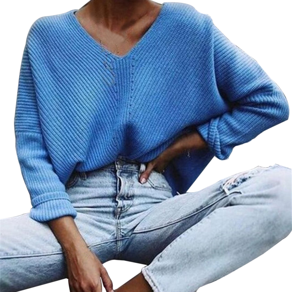 WENYUJH 2020 Autumn Winter Blue Knitted Pullovers Women Long Sleeve V-neck Cashmere Sweaters Women Casual Korean Female Jumper